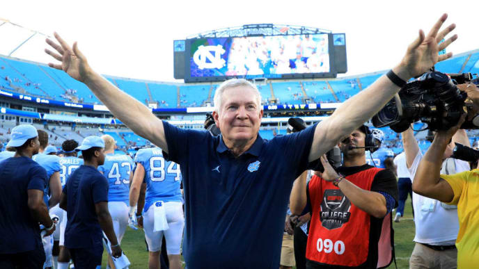 CHARLOTTE, NORTH CAROLINA - AUGUST 31: Head coach Mack Brown of the North Carolina Tar Heels reacts after defeating the South Carolina Gamecocks 24-20 in the Belk College Kickoff game at Bank of America Stadium on August 31, 2019 in Charlotte, North Carolina. (Photo by Streeter Lecka/Getty Images)