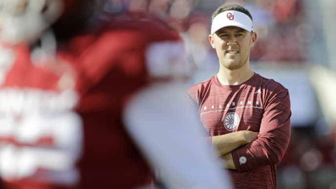 NORMAN, OK - SEPTEMBER 07: Head Coach Lincoln Riley of the Oklahoma Sooners watches his team during warmups before the game against the South Dakota Coyotes at Gaylord Family Oklahoma Memorial Stadium on September 7, 2019 in Norman, Oklahoma. The Oklahoma Sooners defeated the South Dakota Coyotes 70-14. (Photo by Brett Deering/Getty Images)