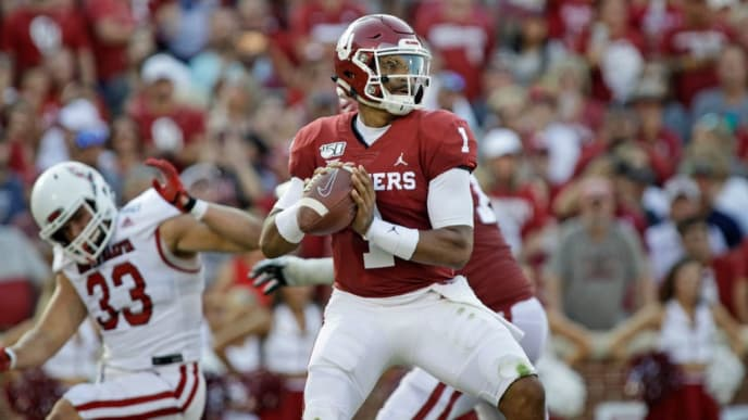 NORMAN, OK - SEPTEMBER 07: Quarterback Jalen Hurts #1 of the Oklahoma Sooners looks to throw against the South Dakota Coyotes at Gaylord Family Oklahoma Memorial Stadium on September 7, 2019 in Norman, Oklahoma. The Sooners defeated the Coyotes 70-14. (Photo by Brett Deering/Getty Images)