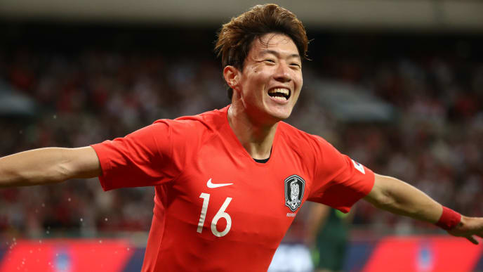 BUSAN, SOUTH KOREA - JUNE 07: Hwang Uijo of South Korea celebrates scoring the opening goal during the international friendly match between South Korea and Australia at Busan Asiad Main Stadium on June 7, 2019 in Busan, South Korea. (Photo by Chung Sung-Jun/Getty Images)