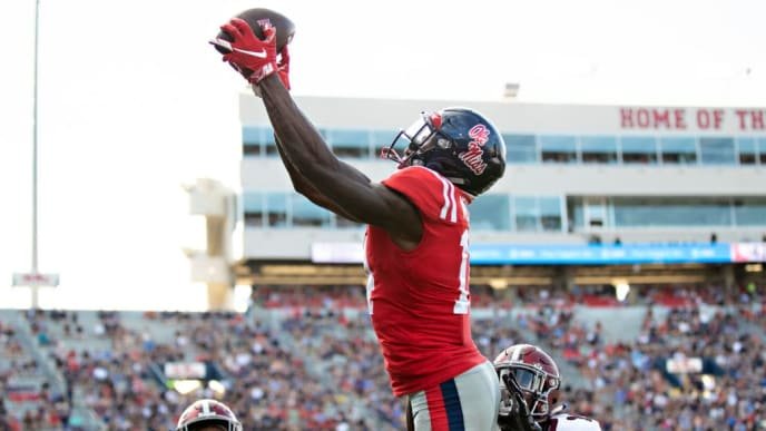 OXFORD, MS - SEPTEMBER 8:  D.K. Metcalf #14 of the Mississippi Rebels catches a pass for a touchdown during a game against the Southern Illinois Salukis at Vaught-Hemingway Stadium on September 8, 2018 in Oxford, Mississippi.  The Rebels defeated the Salukis 76-41.  (Photo by Wesley Hitt/Getty Images)