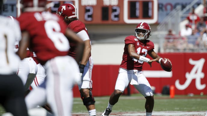 TUSCALOOSA, AL - SEPTEMBER 21: Tua Tagovailoa #13 of the Alabama Crimson Tide throws a pass in the second quarter against the Southern Mississippi Golden Eagles at Bryant-Denny Stadium on September 21, 2019 in Tuscaloosa, Alabama. Alabama defeated Southern Miss 49-7. (Photo by Joe Robbins/Getty Images)