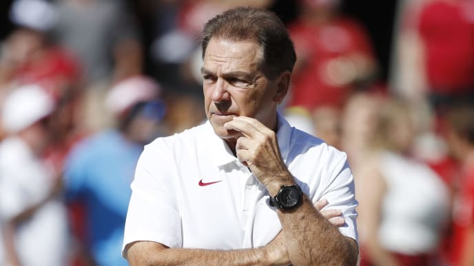 TUSCALOOSA, AL - SEPTEMBER 21: Alabama Crimson Tide head coach Nick Saban looks on  before a game against the Southern Mississippi Golden Eagles at Bryant-Denny Stadium on September 21, 2019 in Tuscaloosa, Alabama. Alabama defeated Southern Miss 49-7. (Photo by Joe Robbins/Getty Images)