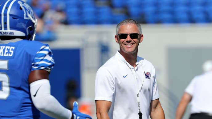 MEMPHIS, TN - SEPTEMBER 7: Mike Norvell, head coach of the Memphis Tigers smiles before a game against the Southern Jaguars on September 7, 2019 at Liberty Bowl Memorial Stadium in Memphis, Tennessee.  Memphis defeated Southern 55-24. (Photo by Joe Murphy/Getty Images)