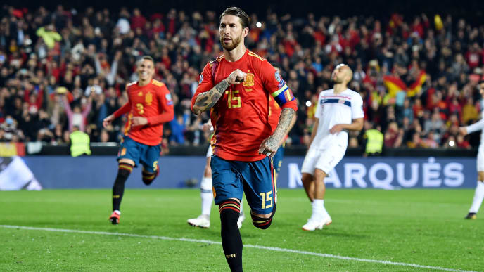 VALENCIA, SPAIN - MARCH 23:  Sergio Ramos of Spain celebrates scoring his sides second goal during the 2020 UEFA European Championships group F qualifying match between Spain and Norway at Estadio de Mestalla on March 23, 2019 in Valencia, Spain. (Photo by Denis Doyle/Getty Images)