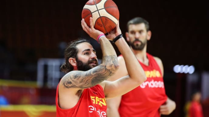 GUANGZHOU, CHINA - AUGUST 31: #12 Ricard Rubio of Spain shoots during the training before the match against Tunisia of the 1st round of 2019 FIBA World Cup at Guangzhou Sport Stadium on August 31, 2019 in Guangzhou, China. (Photo by Zhizhao Wu/Getty Images)