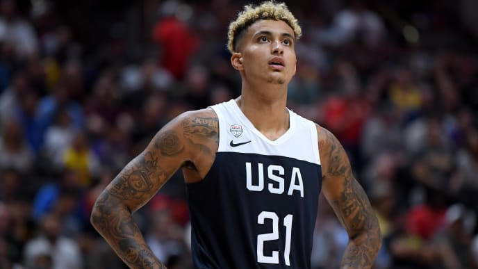 ANAHEIM, CALIFORNIA - AUGUST 16:  Kyle Kuzma #21 of the United States in a 90-81 USA win over Spain during an exhibition game at Honda Center on August 16, 2019 in Anaheim, California. (Photo by Harry How/Getty Images)