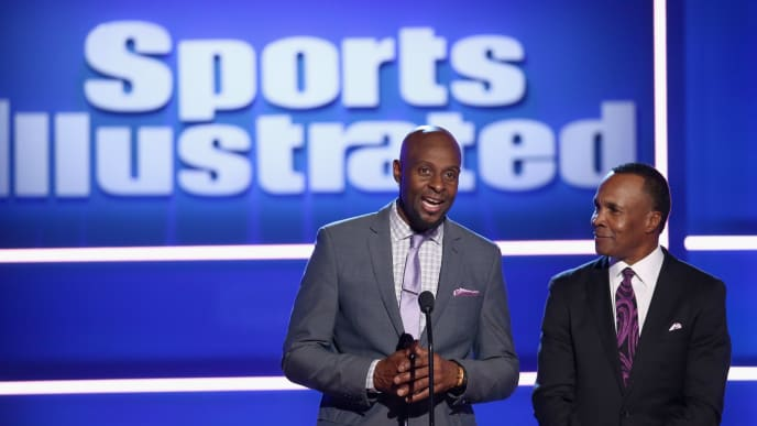 BEVERLY HILLS, CA - DECEMBER 11:  Jerry Rice (L) and Sugar Ray Leonard speak onstage at Sports Illustrated 2018 Sportsperson of the Year Awards Show on Tuesday, December 11, 2018 at The Beverly Hilton in Los Angeles. Tune in to NBCSN on Thursday, December 13, 2018 at 9pmET to watch the one hour Sports Illustrated Sportsperson of the Year Awards special.  (Photo by Rich Polk/Getty Images for Sports Illustrated)