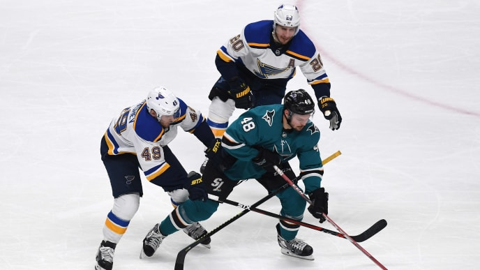 SAN JOSE, CALIFORNIA - MAY 13: Tomas Hertl #48 of the San Jose Sharks skates with the puck against Ivan Barbashev #49 and Alexander Steen #20 of the St. Louis Blues in Game Two of the Western Conference Final during the 2019 NHL Stanley Cup Playoffs at SAP Center on May 13, 2019 in San Jose, California. (Photo by Thearon W. Henderson/Getty Images)