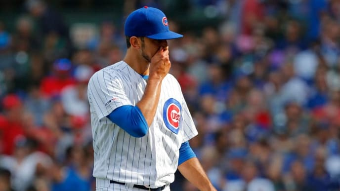 CHICAGO, ILLINOIS - SEPTEMBER 20: Steve Cishek #41 of the Chicago Cubs walks off the mound after being removed by manager Joe Maddon #70 during the sixth inning of a game against the St. Louis Cardinalsat Wrigley Field on September 20, 2019 in Chicago, Illinois. (Photo by Nuccio DiNuzzo/Getty Images)