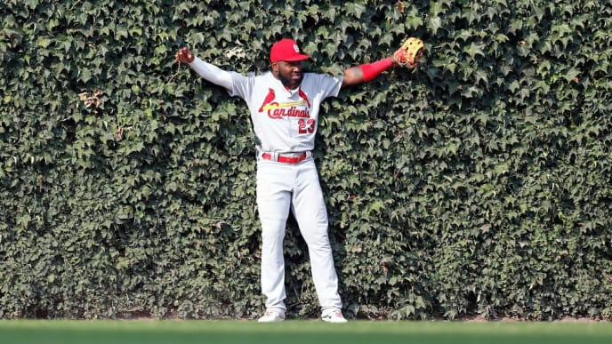 CHICAGO, ILLINOIS - SEPTEMBER 20: Marcell Ozuna #23 of the St. Louis Cardinals reacts after catching the fly out by Kris Bryant #17 of the Chicago Cubs during the seventh inning of a game at Wrigley Field on September 20, 2019 in Chicago, Illinois. (Photo by Nuccio DiNuzzo/Getty Images)