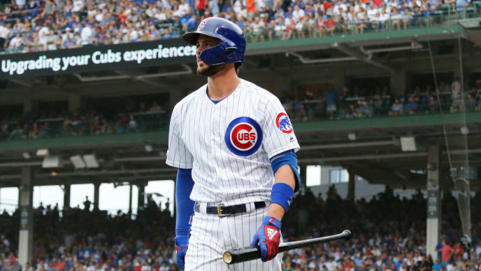 CHICAGO, ILLINOIS - SEPTEMBER 21: Kris Bryant #17 of the Chicago Cubs struck out during the second inning of a game against the St. Louis Cardinals at Wrigley Field on September 21, 2019 in Chicago, Illinois. (Photo by Nuccio DiNuzzo/Getty Images)