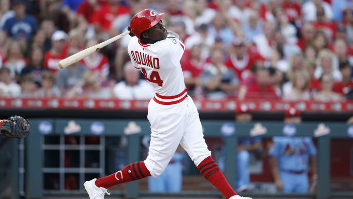 CINCINNATI, OH - AUGUST 17: Aristides Aquino #44 of the Cincinnati Reds bats in the third inning against the St. Louis Cardinals at Great American Ball Park on August 17, 2019 in Cincinnati, Ohio. The Reds won 6-1. (Photo by Joe Robbins/Getty Images)