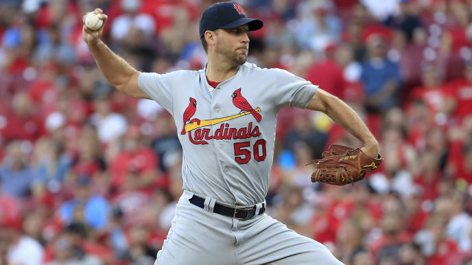 CINCINNATI, OHIO - AUGUST 16:   Adam Wainwright #50 of the St. Louis Cardinals throws a pitch against the Cincinnati Reds at Great American Ball Park on August 16, 2019 in Cincinnati, Ohio. (Photo by Andy Lyons/Getty Images)