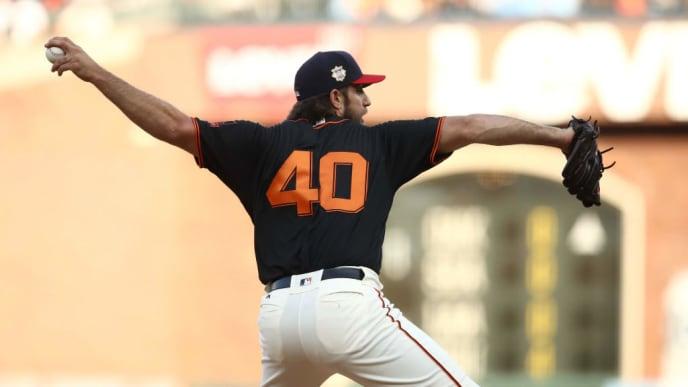 SAN FRANCISCO, CALIFORNIA - JULY 06:  Madison Bumgarner #40 of the San Francisco Giants pitches against the St. Louis Cardinals in the first inning at Oracle Park on July 06, 2019 in San Francisco, California. (Photo by Ezra Shaw/Getty Images)