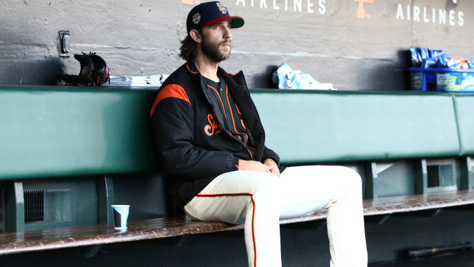 SAN FRANCISCO, CALIFORNIA - JULY 06:  Starting pitcher Madison Bumgarner #40 of the San Francisco Giants sits in the dugout before their game against the St. Louis Cardinals at Oracle Park on July 06, 2019 in San Francisco, California. (Photo by Ezra Shaw/Getty Images)