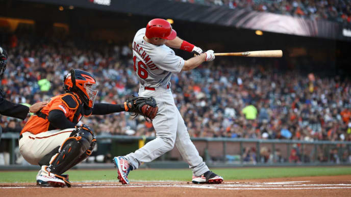 SAN FRANCISCO, CALIFORNIA - JULY 05: Paul Goldschmidt #46 of the St. Louis Cardinals hits a home run in the first inning against the San Francisco Giants at Oracle Park on July 05, 2019 in San Francisco, California. (Photo by Ezra Shaw/Getty Images)