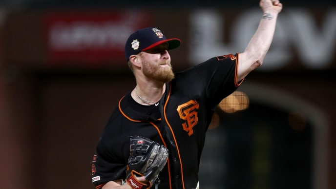 SAN FRANCISCO, CALIFORNIA - JULY 06:  Will Smith #13 of the San Francisco Giants pitches against the St. Louis Cardinals in the ninth inning at Oracle Park on July 06, 2019 in San Francisco, California. (Photo by Ezra Shaw/Getty Images)