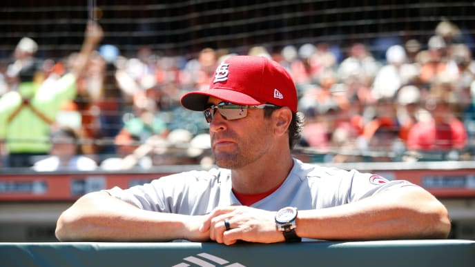 SAN FRANCISCO, CA - JULY 7: Manager Mike Matheny #22 of the St Louis Cardinals stands in the dugout prior to the game against the San Francisco Giants at AT&T Park on July 7, 2018 in San Francisco, California. The Cardinals defeated the Giants 3-2. (Photo by Michael Zagaris/Getty Images)