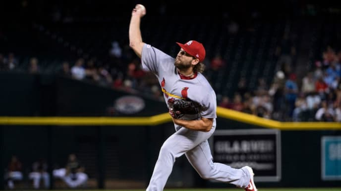 PHOENIX, ARIZONA - SEPTEMBER 25: Michael Wacha #52 of the St. Louis Cardinals delivers a pitch in the first inning of the MLB game against the Arizona Diamondbacks at Chase Field on September 25, 2019 in Phoenix, Arizona. The Arizona Diamondbacks won 9 to 7. (Photo by Jennifer Stewart/Getty Images)
