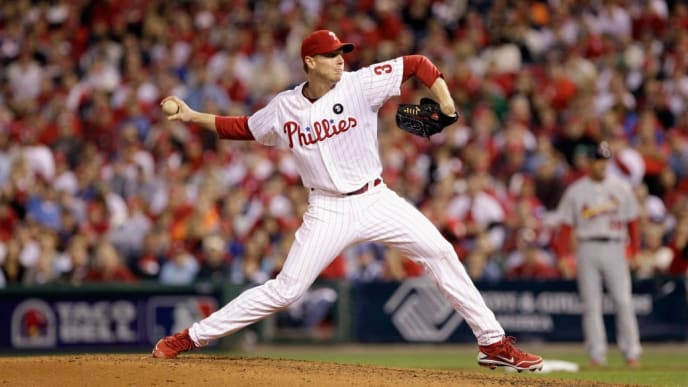 PHILADELPHIA, PA - OCTOBER 07:  Roy Halladay #34 of the Philadelphia Phillies throws a pitch against the St. Louis Cardinals during Game Five of the National League Divisional Series at Citizens Bank Park on October 7, 2011 in Philadelphia, Pennsylvania.  (Photo by Rob Carr/Getty Images)