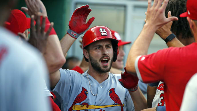 PITTSBURGH, PA - JULY 24:  Paul DeJong #12 of the St. Louis Cardinals celebrates after hitting a two-run home run in the second inning against the Pittsburgh Pirates at PNC Park on July 24, 2019 in Pittsburgh, Pennsylvania.  (Photo by Justin K. Aller/Getty Images)