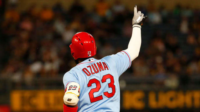 PITTSBURGH, PA - SEPTEMBER 07:  Marcell Ozuna #23 of the St. Louis Cardinals in action against the Pittsburgh Pirates at PNC Park on September 7, 2019 in Pittsburgh, Pennsylvania.  (Photo by Justin K. Aller/Getty Images)