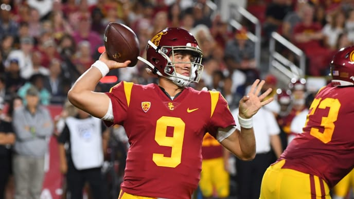 LOS ANGELES, CA - SEPTEMBER 07: Quarterback Kedon Slovis #9 of the USC Trojans throws a complete pass for a first down in the first quarter of the game against the Stanford Cardinal at the Los Angeles Memorial Coliseum on September 7, 2019 in Los Angeles, California. (Photo by Jayne Kamin-Oncea/Getty Images)