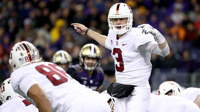 SEATTLE, WA - NOVEMBER 03: K.J. Costello #3 of the Stanford Cardinal signals to teammates in the first quarter against the Washington Huskies during their game at Husky Stadium on November 3, 2018 in Seattle, Washington.  (Photo by Abbie Parr/Getty Images)