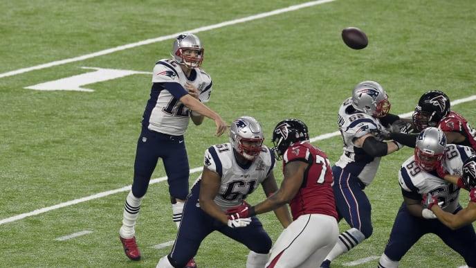 Tom Brady throws a pass in Super Bowl LI against the Atlanta Falcons.