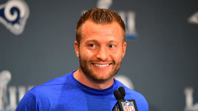 ATLANTA, GA - JANUARY 31: Head Coach Sean McVay of the Los Angeles Rams answers a question during Rams media availability for Super Bowl LIII at the Marriott Atlanta Buckhead on January 31, 2019 in Atlanta, Georgia. (Photo by Scott Cunningham/Getty Images)