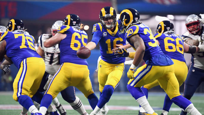ATLANTA, GA - FEBRUARY 03: Jared Goff #16 hands the ball of to Todd Gurley II #30 in the second half during Super Bowl LIII at Mercedes-Benz Stadium on February 3, 2019 in Atlanta, Georgia.  (Photo by Harry How/Getty Images)