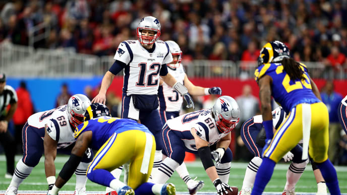 ATLANTA, GEORGIA - FEBRUARY 03: Tom Brady #12 of the New England Patriots calls a play during Super Bowl LIII against the Los Angeles Rams at Mercedes-Benz Stadium on February 03, 2019 in Atlanta, Georgia. (Photo by Maddie Meyer/Getty Images)
