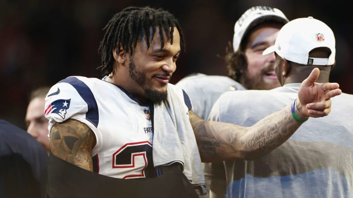 ATLANTA, GA - FEBRUARY 03: Patrick Chung #23 of the New England Patriots celebrates after the Patriots defeat the Los Angeles Rams 13-3 during Super Bowl LIII at Mercedes-Benz Stadium on February 3, 2019 in Atlanta, Georgia.  (Photo by Jamie Squire/Getty Images)