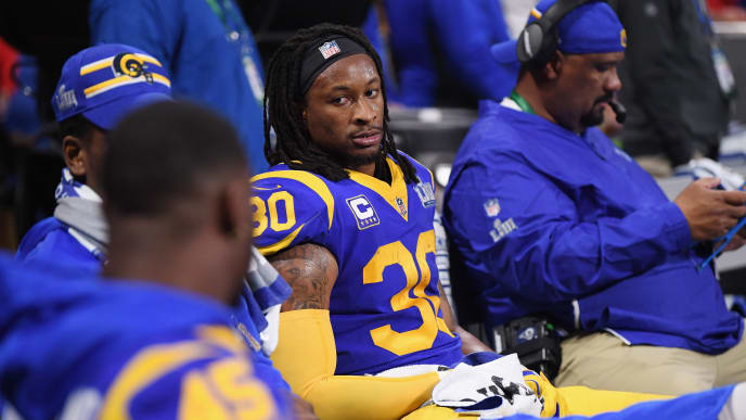 ATLANTA, GA - FEBRUARY 03:  Todd Gurley II #30 of the Los Angeles Rams gestures while he is on the bench in the second half during Super Bowl LIII at Mercedes-Benz Stadium on February 3, 2019 in Atlanta, Georgia.  (Photo by Harry How/Getty Images)