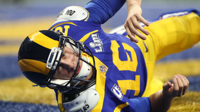 ATLANTA, GA - FEBRUARY 03: Jared Goff #16 of the Los Angeles Rams falls down in his own end zone after throwing a pass in the third quarter during Super Bowl LIII at Mercedes-Benz Stadium on February 3, 2019 in Atlanta, Georgia.  (Photo by Jamie Squire/Getty Images)