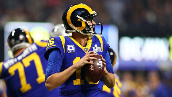 ATLANTA, GEORGIA - FEBRUARY 03:  Jared Goff #16 of the Los Angeles Rams attempts a pass against the New England Patriots during the second half during Super Bowl LIII at Mercedes-Benz Stadium on February 03, 2019 in Atlanta, Georgia. (Photo by Maddie Meyer/Getty Images)