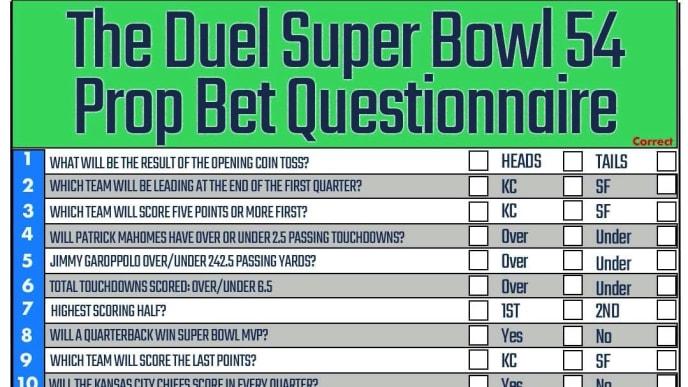 Super Bowl 54 Prop Bet Questionnaire.