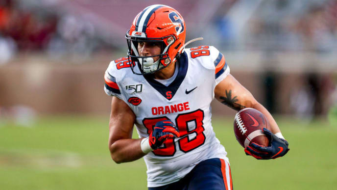 TALLAHASSEE, FL - OCTOBER 26: Tight End Aaron Hackett #89 of the Syracuse Orange after a catch during the game against the Florida State Seminoles at Doak Campbell Stadium on Bobby Bowden Field on October 26, 2019 in Tallahassee, Florida. The Seminoles defeated the Orange 35 to 17. (Photo by Don Juan Moore/Getty Images)