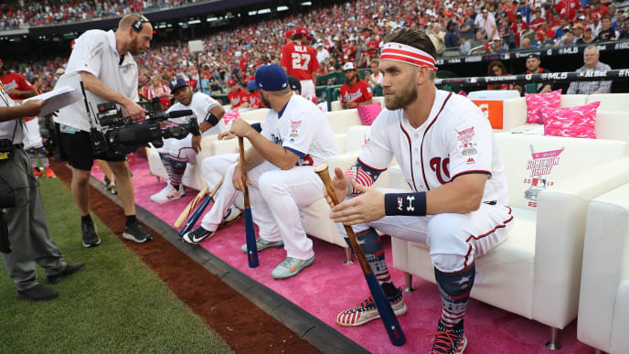 WASHINGTON, DC - JULY 16: Bryce Harper #34 during the T-Mobile Home Run Derby at Nationals Park on July 16, 2018 in Washington, DC. (Photo by Patrick Smith/Getty Images)