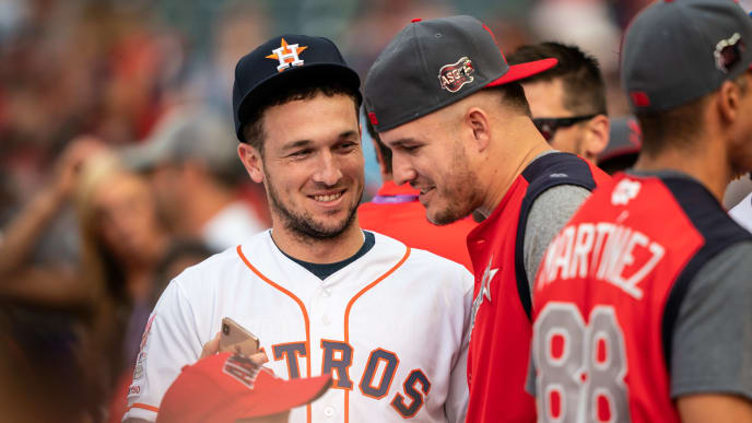 CLEVELAND, OH - JULY 08: Alex Bregman and Mike Trout of the American League All-Stars look on during T-Mobile Home Run Derby on July 8, 2019 at Progressive Field in Cleveland, Ohio. (Photo by Brace Hemmelgarn/Minnesota Twins/Getty Images)