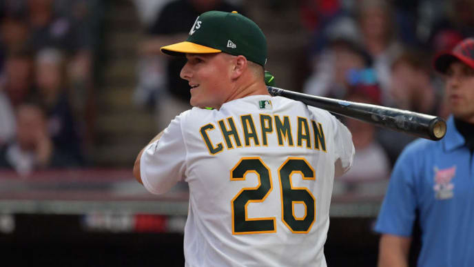 CLEVELAND, OHIO - JULY 08: Matt Chapman of the Oakland Athletics competes in the T-Mobile Home Run Derby at Progressive Field on July 08, 2019 in Cleveland, Ohio. (Photo by Jason Miller/Getty Images)