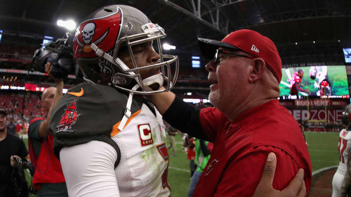 GLENDALE, AZ - SEPTEMBER 18:  Quarterback Jameis Winston #3 of the Tampa Bay Buccaneers and head coach Bruce Arians of the Arizona Cardinals shake hands following the 40-7 NFL game at the University of Phoenix Stadium on September 18, 2016 in Glendale, Arizona.  (Photo by Christian Petersen/Getty Images)