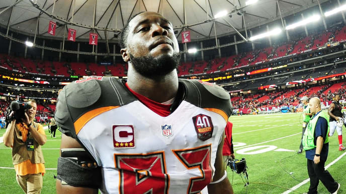 ATLANTA, GA - NOVEMBER 01:  Gerald McCoy #93 of the Tampa Bay Buccaneers walks off the field after beating the Atlanta Falcons in overtime at the Georgia Dome on November 1, 2015 in Atlanta, Georgia.  (Photo by Scott Cunningham/Getty Images)