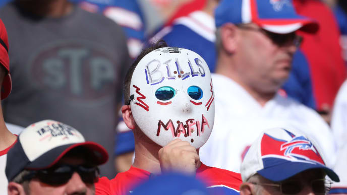 BUFFALO, NY - OCTOBER 22: A fan of the Buffalo Bills wears a hockey mask and poses as a member of the Bills Mafia during NFL game action against the Tampa Bay Buccaneers at New Era Field on October 22, 2017 in Buffalo, New York. (Photo by Tom Szczerbowski/Getty Images) *** Local Caption ***