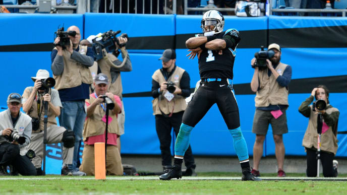 CHARLOTTE, NC - NOVEMBER 04:  Cam Newton #1 of the Carolina Panthers celebrates after a fourth quarter touchdown against the Tampa Bay Buccaneers during their game at Bank of America Stadium on November 4, 2018 in Charlotte, North Carolina.  (Photo by Grant Halverson/Getty Images)