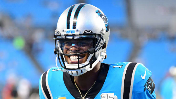 CHARLOTTE, NORTH CAROLINA - SEPTEMBER 12: Cam Newton #1 of the Carolina Panthers before their game against the Tampa Bay Buccaneers at Bank of America Stadium on September 12, 2019 in Charlotte, North Carolina. (Photo by Jacob Kupferman/Getty Images)