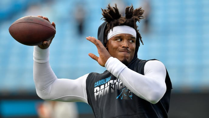 CHARLOTTE, NORTH CAROLINA - SEPTEMBER 12: Cam Newton #1 of the Carolina Panthers against the Tampa Bay Buccaneers during the first quarter of their game at Bank of America Stadium on September 12, 2019 in Charlotte, North Carolina. (Photo by Grant Halverson/Getty Images)
