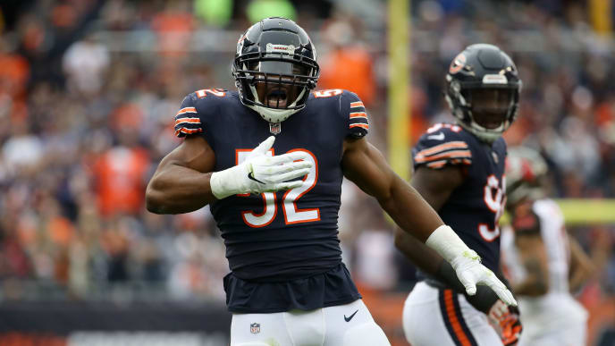 Khalil Mack celebrates in a game against the Tampa Bay Buccaneers.