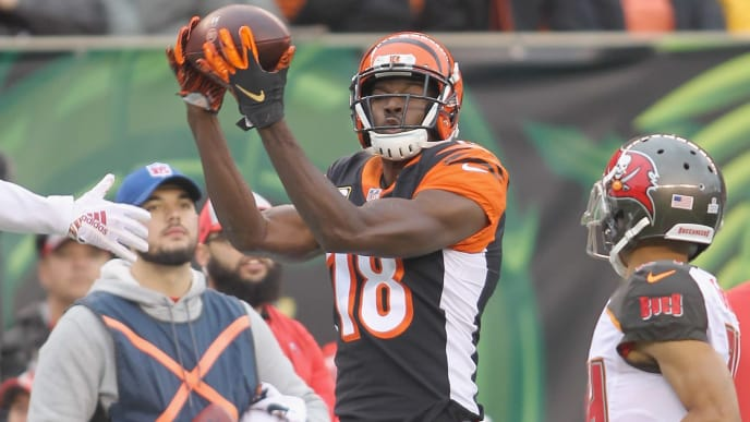 CINCINNATI, OH - OCTOBER 28:  A.J. Green #18 of the Cincinnati Bengals hauls in the pass during the game against the Tampa Bay Bucccaneers at Paul Brown Stadium on October 28, 2018 in Cincinnati, Ohio. The Bengals defeated the Buccaneers 37-34.  (Photo by John Grieshop/Getty Images)